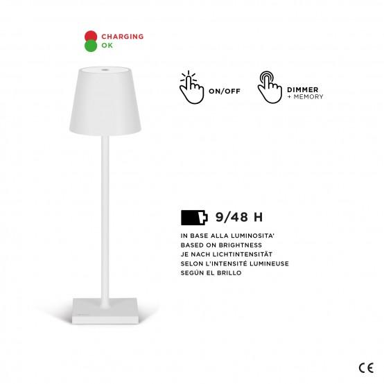 Lampada da tavolo ricaricabile Stilosa by Madrigal: USB con dimmer, resistente all'acqua